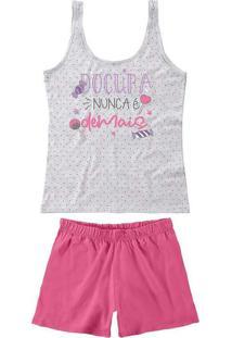Pijama Feminino Curto Malwee 1000073390 40000-Cinz