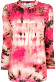Msgm Blusa Tie Dye Com Logo - Vermelho