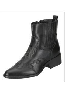 Bota Ankle Boot Dududias10 Rust Feminina - Feminino-Preto