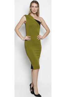 3f61b35ae ... Vestido Ombro Único Com Recortes- Verde Musgo   Pretoforum