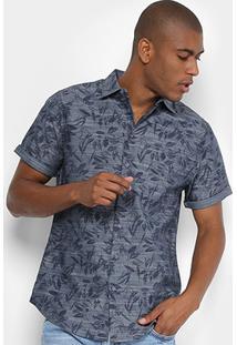 Camisa Manga Curta Forum Folhagens Slim Fit Masculina - Masculino-Cinza+Azul