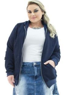 Jaqueta Confidencial Extra Plus Size Jeans Com Capuzfeminina - Feminino-Marinho