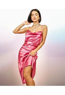 Vestido Slip Dress Feminino Manu Gavassi Midi Acetinado Alça Fina Gola Degagê Pink