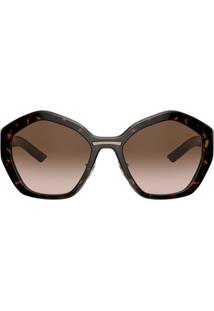 Prada Eyewear Óculos De Sol Oversized Geométrico - Marrom