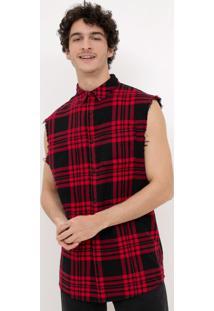 Camisa Flanela Sem Mangas Em Xadrez