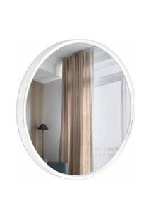 Espelho Decorativo Round Externo Branco 30 Cm De Redondo