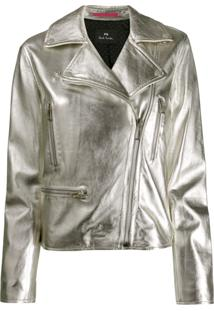 Ps Paul Smith Fitted Biker Jacket - Prateado