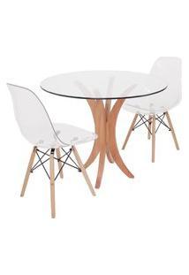 Conjunto Mesa De Jantar Em Vidro 90Cm Com 2 Cadeiras Eiffel Transparente