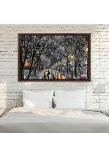 Quadro Love Decor Com Moldura Gray Night Madeira Escura Mã©Dio - Multicolorido - Dafiti