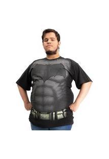 Camiseta Plus Size Batman Peitoral Filme Preto