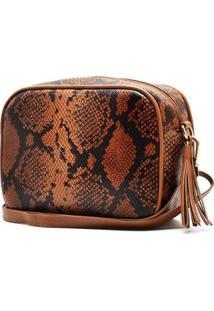Bolsa Hendy Bag Quadrada Cobra - Feminino-Caramelo+Off White