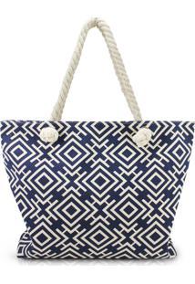 Bolsa De Praia Estampada Com Alça De Corda Jacki Design Azul Marinho Geométrica - Kanui