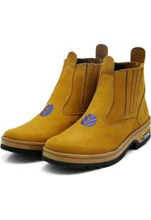 Bota Fk Shoes Conforto Feminina - Feminino-Amarelo