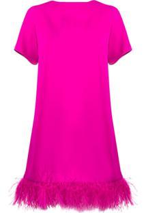 P.A.R.O.S.H. Vestido Reto Com Aplicações De Plumas - Rosa
