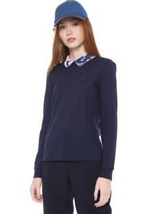 Camisa Polo Lacoste Reta Estampada Azul-Marinho
