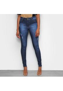 Calça Jeans Skinny Tks Estonada Puídos Cintura Alta Feminina - Feminino