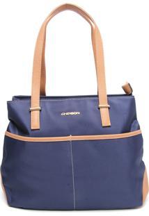 Bolsa Chenson Grande Azul-Marinho/Caramelo