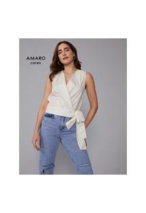 Amaro Feminino Blusa Transpassada Algodão, Branco