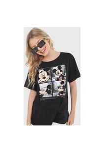 Camiseta Cativa Disney Mickey Wanderlust Preta