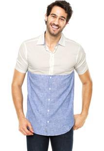 Camisa Handbook Bicolor Branca/Azul