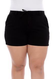 Short Plus Size Preto Sarja Amarração