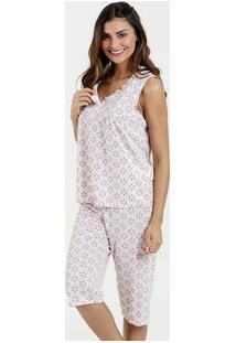 Pijama Feminino Bermudoll Estampa Floral Sem Manga Marisa