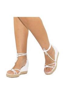 Sandalia Feminina Amorelle Anabela Corda Sapato Plataforma Branco 3