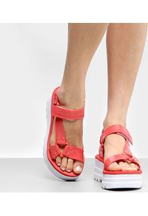 Sandália Plataforma Dijean Flatform Feminina - Feminino-Coral