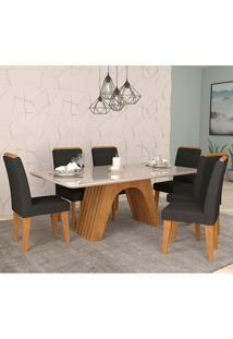 Conjunto De Mesa Clara Para Sala De Jantar Com 6 Cadeiras Taís Moldura -Cimol - Savana / Offwhite / Sued Preto