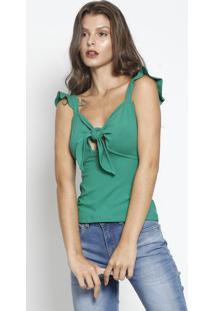 Blusa Com Amarração- Verde- Sommersommer