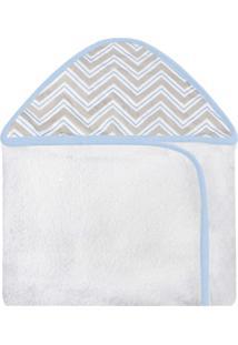 Toalha De Banho C/ Capuz Estampado Laura Baby - Chevron Azul