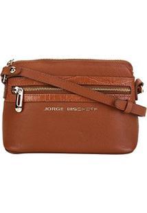 Bolsa Couro Jorge Bischoff Mini Bag Croco Feminina - Feminino-Marrom Claro