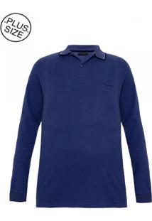 Polo Plus Size Flanelada Azul