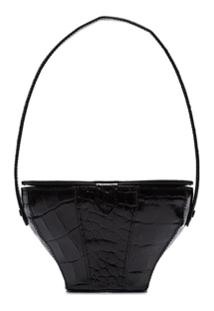 Staud Alice Black Crocodile-Effect Bag - Preto