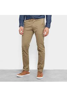 Calça Sarja Aleatory Slim Bolso Faca Masculina - Masculino-Cáqui