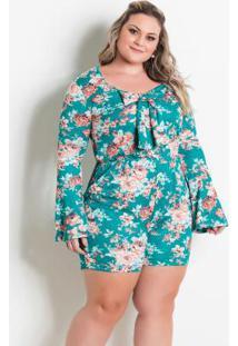 57377606e ... Macaquinho Com Laço Floral Marguerite Plus Size