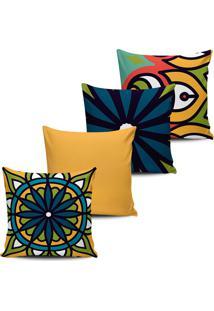 Conjunto 4 Capas Almofada Decorativa Estampa Mandala 45X45Cm - Tricae