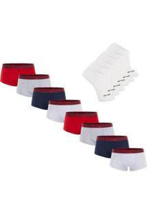 8b35358c786c4e Kit Cueca Sunga Cotton Sem Costura 8 Peças Com 3 Pares De Meia Invisível -  Duomo - Masculino-Marinho+Vermelho