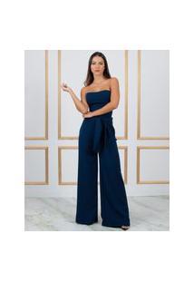 Calça Miss Misses Pantalona Com Faixa Azul Marinho