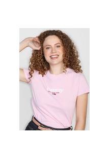 Camiseta Tommy Jeans Logo Rosa