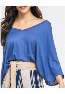 Blusa Zinzane Ampla V - Feminino-Azul