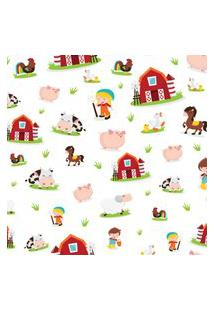 Papel De Parede Animais Fazenda Baby Infantil 57X270Cm