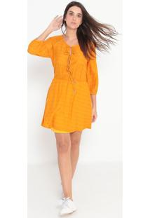 Vestido Com Seda Texturizado - Amarelo Escuro - Elluellus