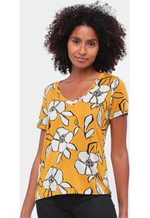 Camiseta Mob Floral Gola V Feminina - Feminino-Amarelo