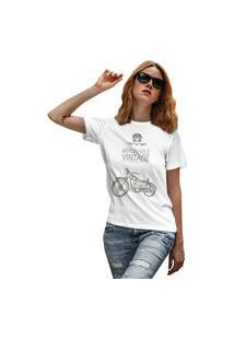 Camiseta Feminina Mirat Motorcycle Vintage Branco