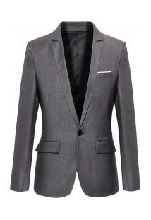 Blazer Masculino Sólido Elegante - Cinza