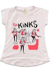 Camiseta T-Shirt Rock Cool Tees Caco Galhardo Banda The Kinks Feminina - Feminino-Rosa