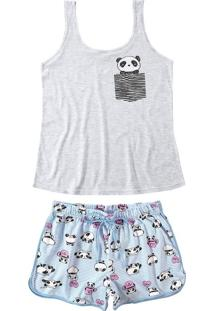 Pijama Curto Pandas Malwee Liberta