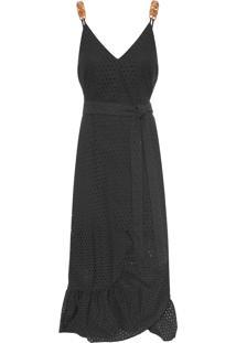 Vestido Midi Lesie Babado - Preto