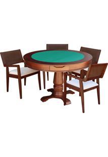 Mesa De Jogos Carteado Victoria Redonda Tampo Reversível Imbuia Com 4 Cadeiras Megan Linho Bege - Gran Belo